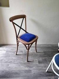 Upholstered Cross Back Metal Restaurant Chair