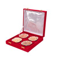 4 German Silver Bowl Set And Dry Fruit With Gift Box