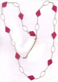 Rectangle Cut Patina In Coral Combo Necklace