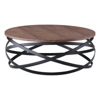 Iron Metal And Solid Wood Round Coffee Table
