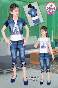 Girls Jeans Capri Jacket (3 Pcs Set)