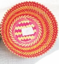 Green And Yellow Bamboo Basket