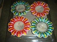 Decorating Diwali Colorful Diyas