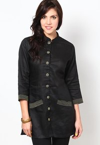 Black Linen Zari Embroidered Kurti