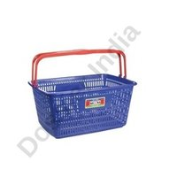 Plastic White And Green Shopping Basket