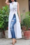Colorauction White Linen Embroidered A-Line Kurti