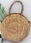 Ladies Beach Straw Handbag Round Circle Water Reed Straw Tote Bag