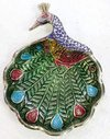 Brass Casted Peacock With Enameled Trinket Tray