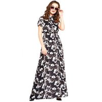 Black And White Floral Rayon Maxi Ladies Dress