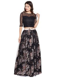 Floral Black Full Length Skirt And Top 2 Pc Ladies Dress