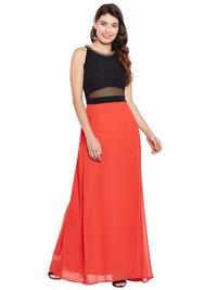 Orange Black Neck Embellished Party Gown