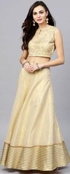 Beige Embroidered Lehenga With Choli