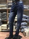 Denim Knitted Knee Cut Jeans