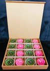 Corporate Gift Box With Hand Painted Tealight Candle And Wax Flower Candle