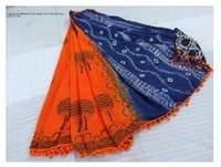 Trendy Design Cotton Sarees With Pom Pom