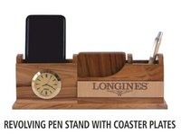 Revolving Pen Stand With Coaster Plates