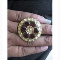 Jadau Kundan Polki Gold Ring