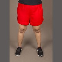 Cotton Lycra Red Knee Length Rayon Shorts