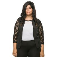 Plain Lace Sleeve Black Jacket With Lace Long Sleeves