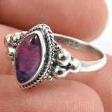 925 Sterling Silver Natural Amethyst Gemstone Marquise Ring