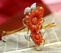 Designer Coral And Diamond Bracelets