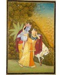 Radha Krishna With Cow Painting