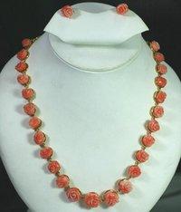 Coral Flower Design Necklace