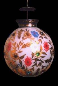 Painted Glass Pot Shape Lamp