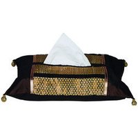 Brocade Patch Brown Tissue Box Cover