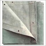 Tarpaulin With Metal Eyelets In Stitched Hems