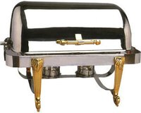 Roll Top Brass Leg Rectangular Chafing Dishes