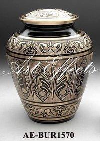Black Engraved Brass Cremation Urn