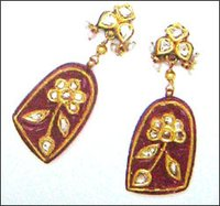 Gold Enameled Earrings