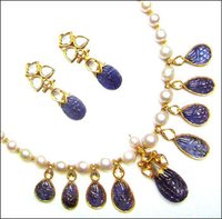 Gold Enameled Enchanting Blues Necklace