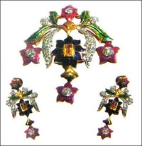 Sparking Cascade Of Colourful Earring And Pendant Set With Meena Work