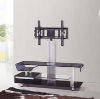 Multi-Functional Black Tempered Glass Tv Stand