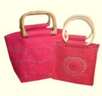 Fancy Jute Bag And Wooden Handle