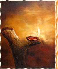Realistic Effect - A Lamp In Dark Paintings