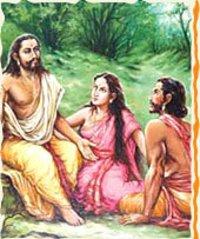 Realistic Work - Pandavas (Yudhishtir And Arjun With Draupadi) Paintings