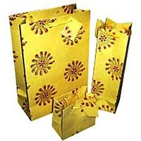 Screen Print Paper Bags With Floral Designs