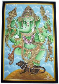 Designer Ganesh Ji Cotton Paintings