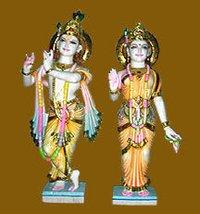 Multicolor Marble Radha Krishana Statue