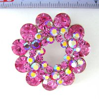 Fuchsia and AB Crystal Layered Flower jewelry Brooch (SWTBC1)