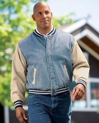 Port Authority Mens Denim And Twill Letterman Jackets