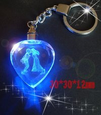 Promotional 3d Laser Engraved Crystal Keychain Gifts