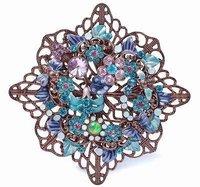 Flower-Shaped Rhinestone Brooches