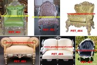 Silver Covered Wooden Carved Sofa Set