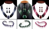 Precious Gemstones Chokers Set (Ruby, Emerald And Sapphires)