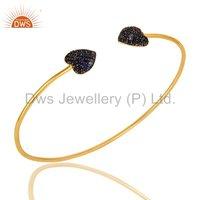 Blue Sapphire Gemstone Gold Plated Sterling Silver Cuff Bracelet