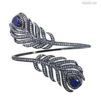 Silver Blue Sapphire Diamond Bangle